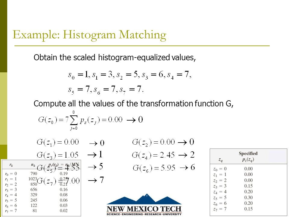 Example: Histogram Matching 4/27/201543 Obtain the scaled histogram-equalized values, Compute all the values of the transformation function G,