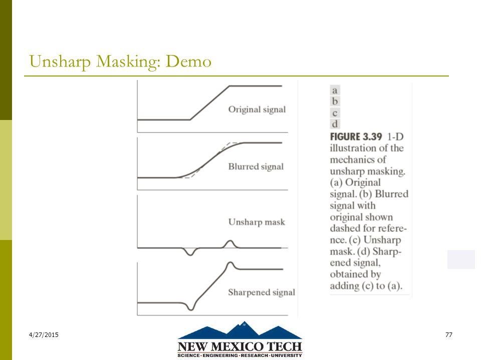 Unsharp Masking: Demo 4/27/201577