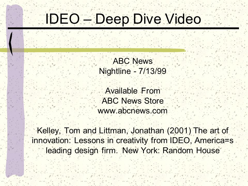 IDEO – Deep Dive Video ABC News Nightline - 7/13/99 Available From ABC News Store www.abcnews.com Kelley, Tom and Littman, Jonathan (2001) The art of innovation: Lessons in creativity from IDEO, America=s leading design firm.