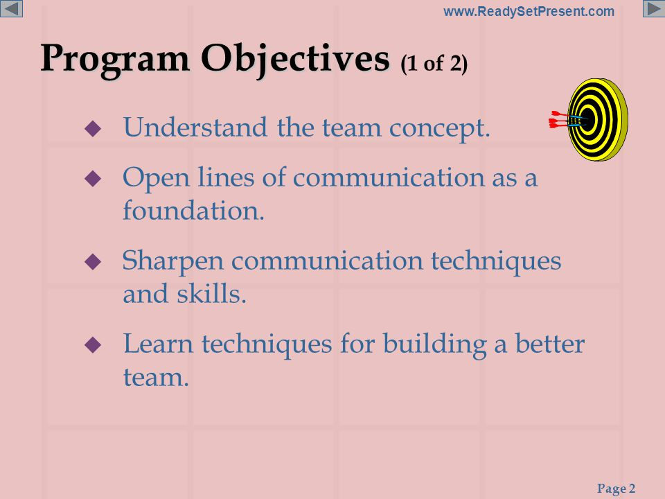 Page 2 www.ReadySetPresent.com Program Objectives Program Objectives (1 of 2)  Understand the team concept.