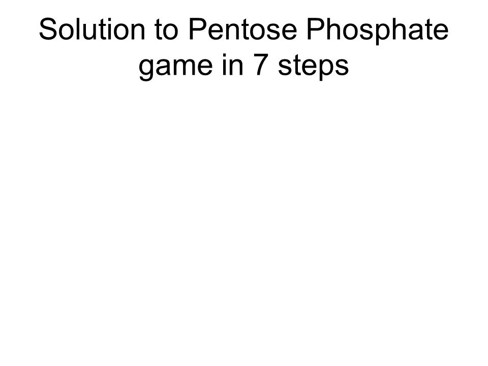 Solution to Pentose Phosphate game in 7 steps