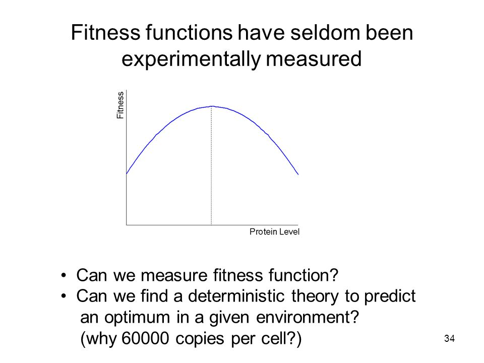 34 Fitness functions have seldom been experimentally measured Can we measure fitness function.