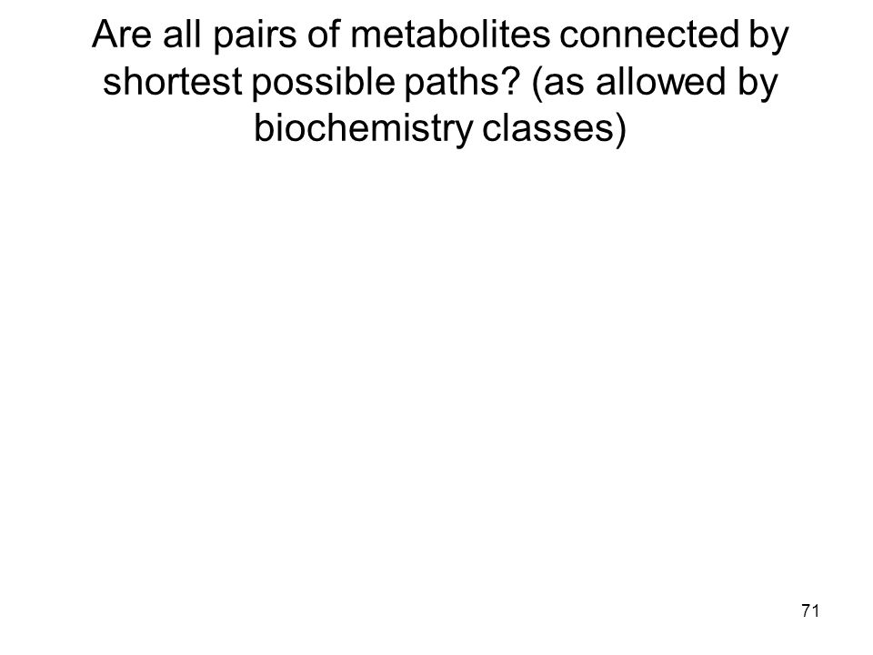 71 Are all pairs of metabolites connected by shortest possible paths? (as allowed by biochemistry classes)