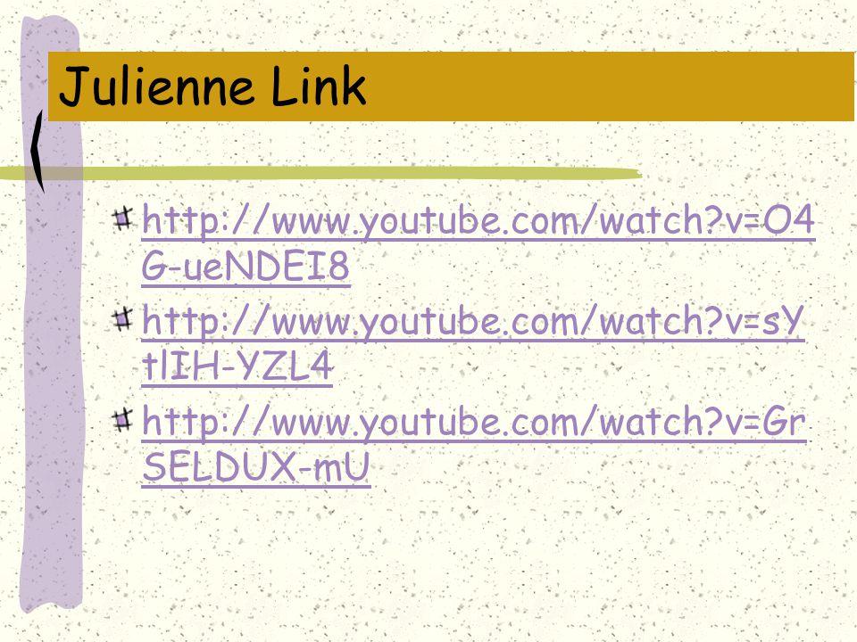 Julienne Link http://www.youtube.com/watch?v=O4 G-ueNDEI8 http://www.youtube.com/watch?v=sY tlIH-YZL4 http://www.youtube.com/watch?v=Gr SELDUX-mU