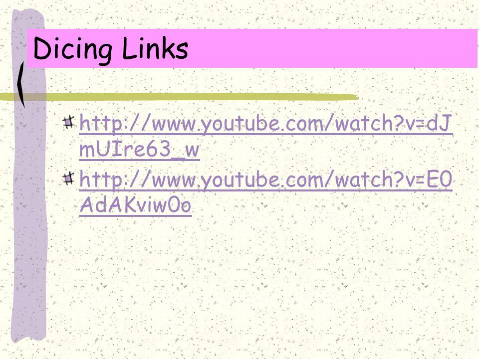 Dicing Links http://www.youtube.com/watch?v=dJ mUIre63_w http://www.youtube.com/watch?v=E0 AdAKviw0o