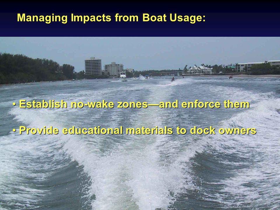 Managing Impacts from Boat Usage: Establish no-wake zones—and enforce them Establish no-wake zones—and enforce them Provide educational materials to dock owners Provide educational materials to dock owners