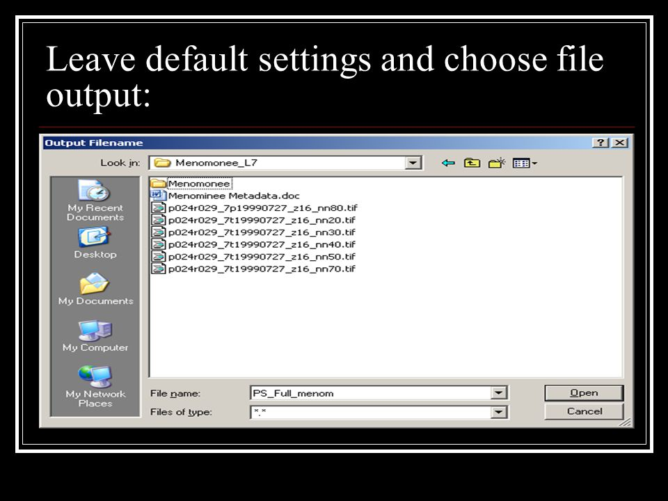 Leave default settings and choose file output: