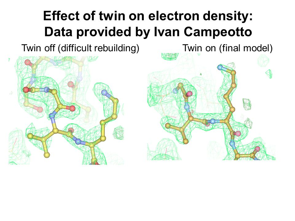 Effect of twin on electron density: Data provided by Ivan Campeotto Twin off (difficult rebuilding)Twin on (final model)