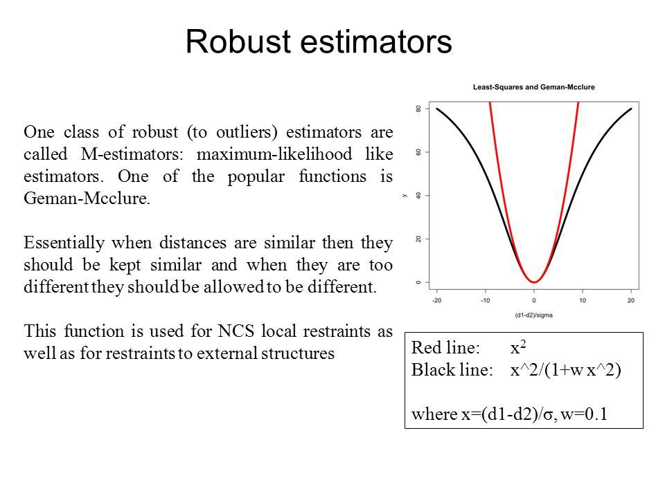Robust estimators One class of robust (to outliers) estimators are called M-estimators: maximum-likelihood like estimators.