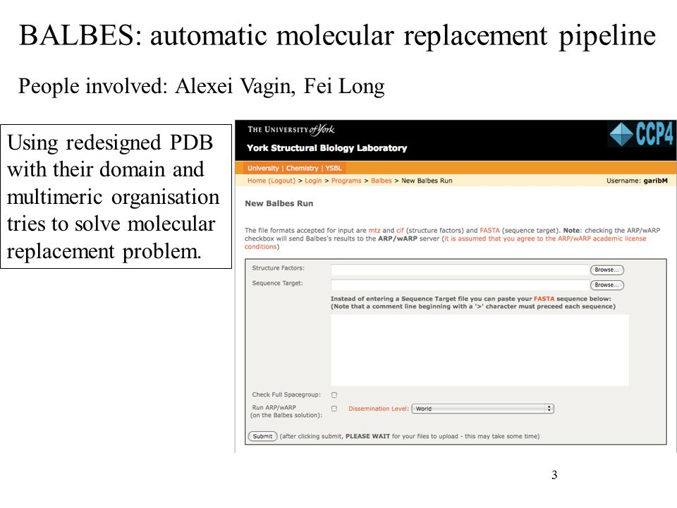 BALBES: automatic molecular replacement pipeline 3 People involved: Alexei Vagin, Fei Long Using redesigned PDB with their domain and multimeric organisation tries to solve molecular replacement problem.