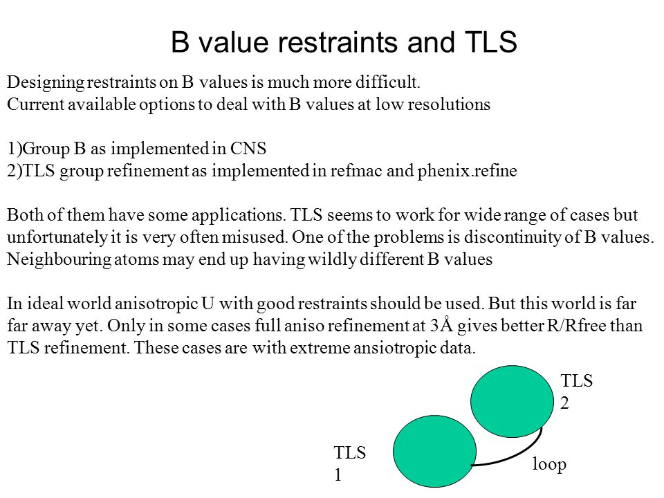 B value restraints and TLS Designing restraints on B values is much more difficult.