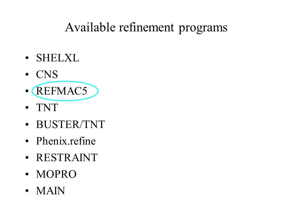Available refinement programs SHELXL CNS REFMAC5 TNT BUSTER/TNT Phenix.refine RESTRAINT MOPRO MAIN