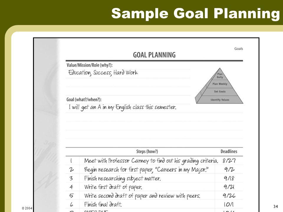 © 2004 FranklinCovey 34 Sample Goal Planning