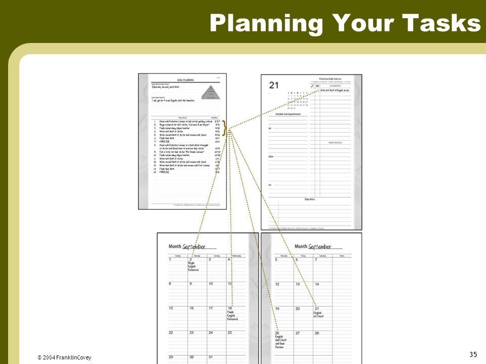 © 2004 FranklinCovey 35 Planning Your Tasks