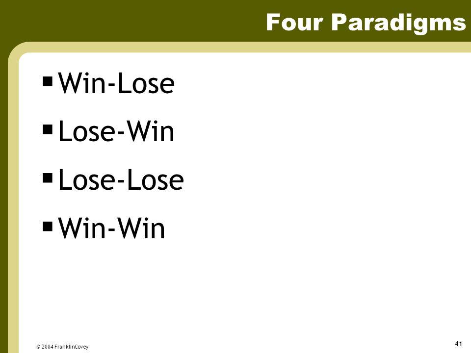 © 2004 FranklinCovey 41 Four Paradigms  Win-Lose  Lose-Win  Lose-Lose  Win-Win