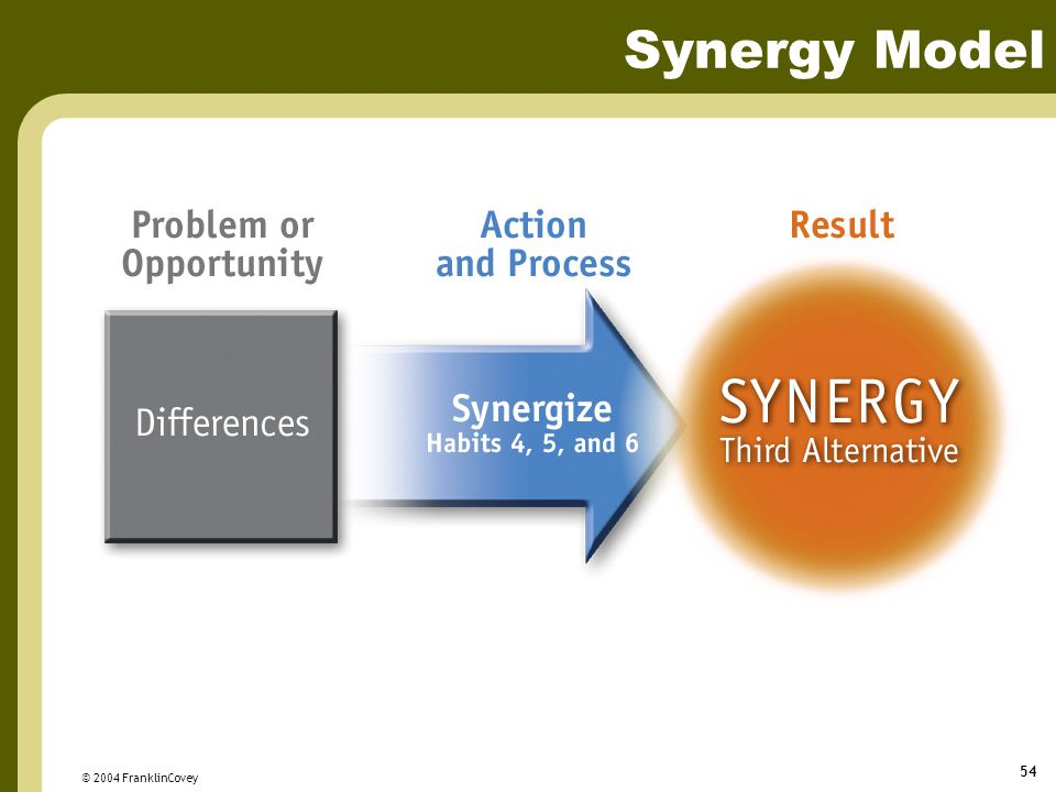 © 2004 FranklinCovey 54 Synergy Model