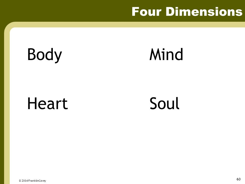 © 2004 FranklinCovey 60 Four Dimensions BodyMind HeartSoul