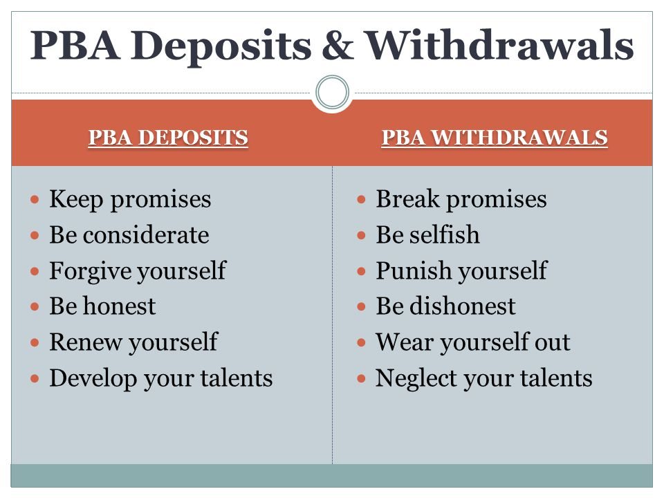 PBA DEPOSITS PBA WITHDRAWALS Keep promises Be considerate Forgive yourself Be honest Renew yourself Develop your talents Break promises Be selfish Pun