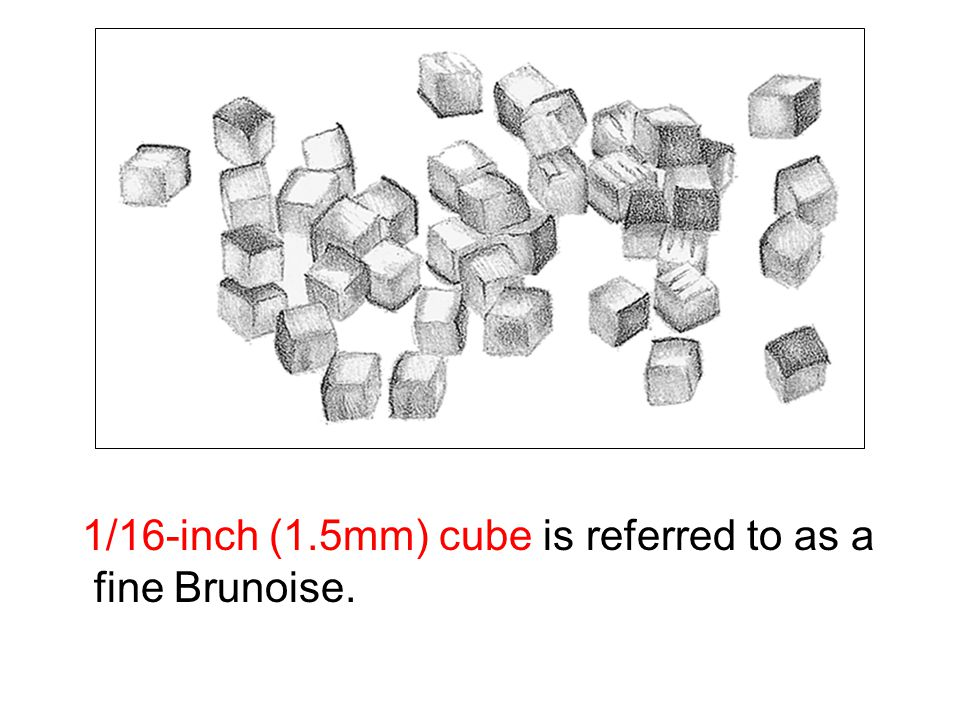 1/16-inch (1.5mm) cube is referred to as a fine Brunoise.