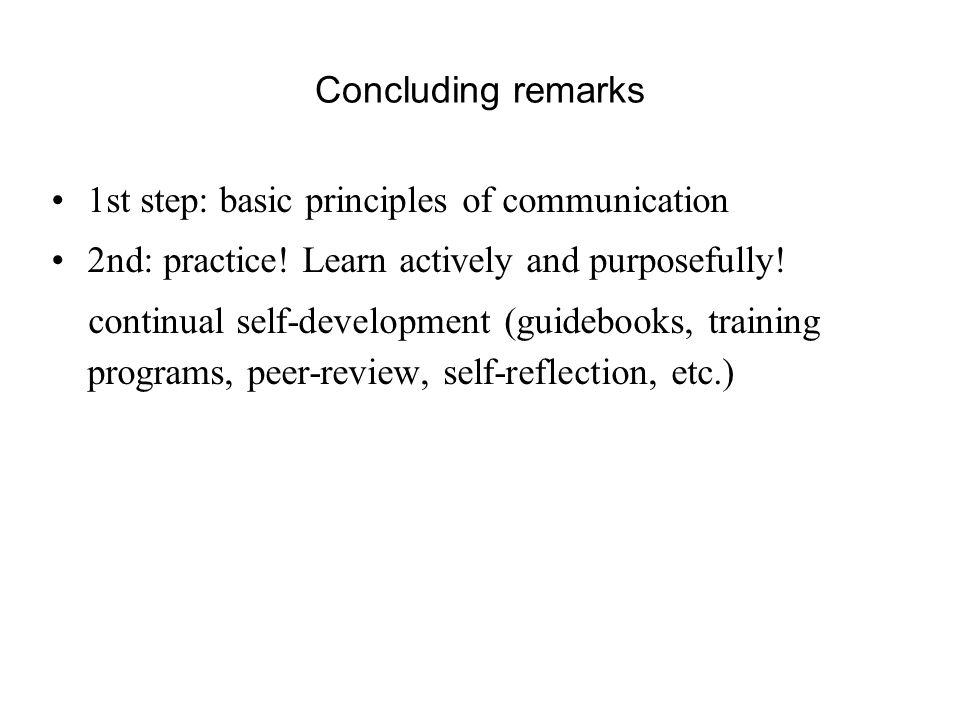 Concluding remarks 1st step: basic principles of communication 2nd: practice.