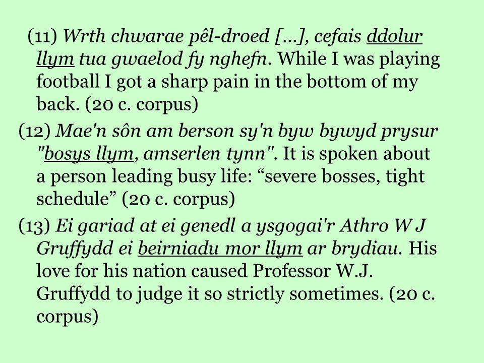 (11) Wrth chwarae pêl-droed [...], cefais ddolur llym tua gwaelod fy nghefn.