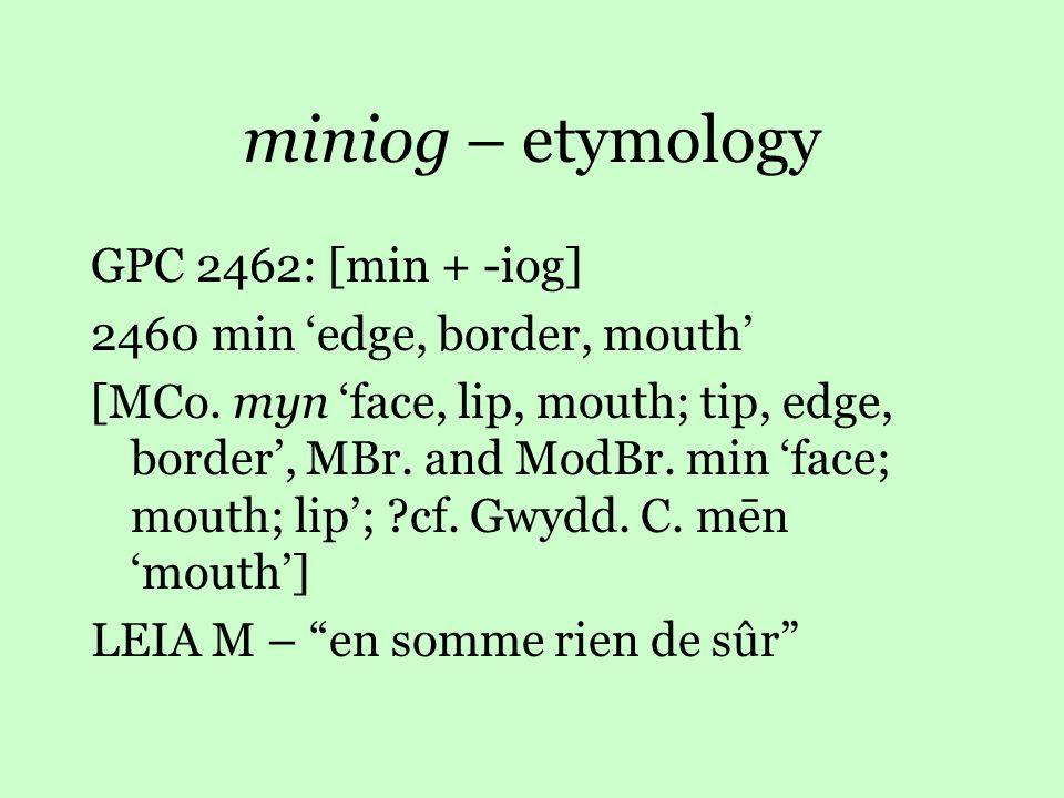 miniog – etymology GPC 2462: [min + -iog] 2460 min 'edge, border, mouth' [MCo.