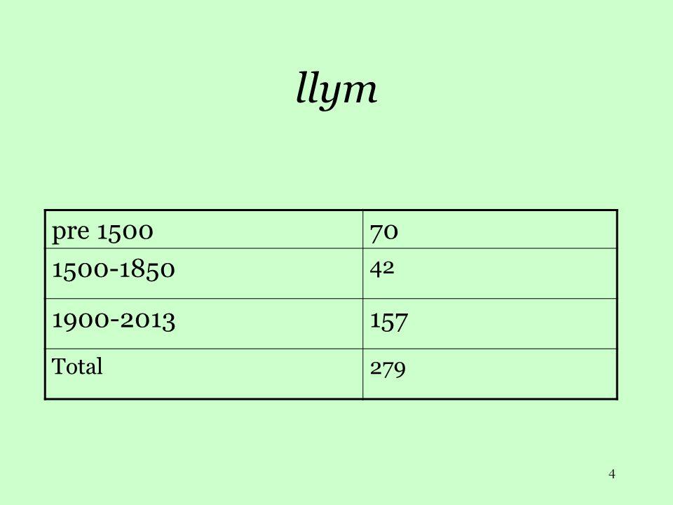 4 llym pre 150070 1500-1850 42 1900-2013157 Total279