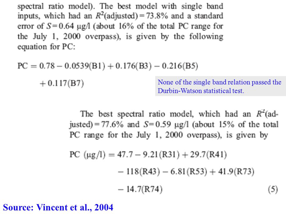 Source: Vincent et al., 2004 None of the single band relation passed the Durbin-Watson statistical test.