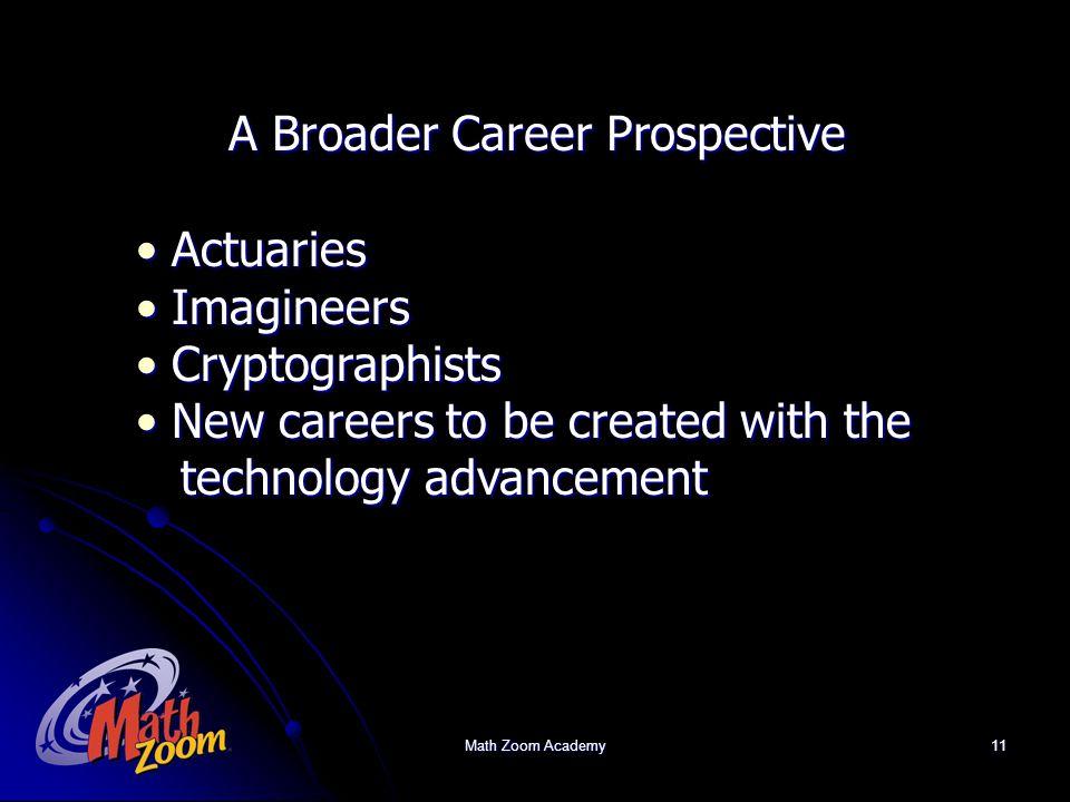 Math Zoom Academy11 A Broader Career Prospective Actuaries Actuaries Imagineers Imagineers Cryptographists Cryptographists New careers to be created with the New careers to be created with the technology advancement technology advancement