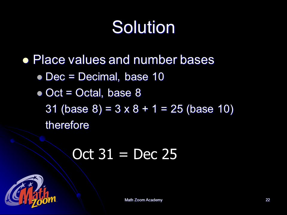 Math Zoom Academy22 Solution Place values and number bases Place values and number bases Dec = Decimal, base 10 Dec = Decimal, base 10 Oct = Octal, ba