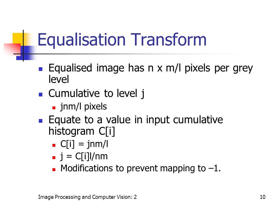 Image Processing and Computer Vision: 210 Equalisation Transform Equalised image has n x m/l pixels per grey level Cumulative to level j jnm/l pixels