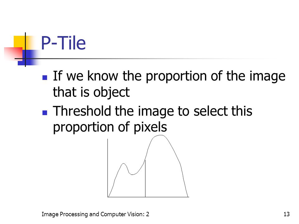 Image Processing and Computer Vision: 213 P-Tile If we know the proportion of the image that is object Threshold the image to select this proportion o