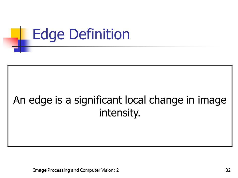 Image Processing and Computer Vision: 232 Edge Definition An edge is a significant local change in image intensity.