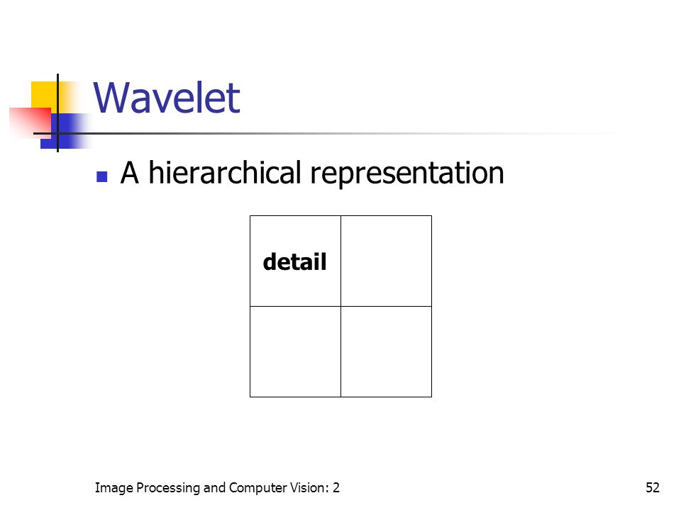 Image Processing and Computer Vision: 252 Wavelet A hierarchical representation detail