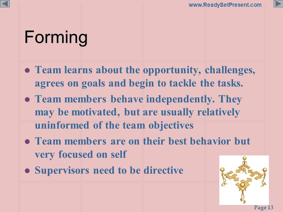 Page 13 www.ReadySetPresent.comForming l Team learns about the opportunity, challenges, agrees on goals and begin to tackle the tasks.