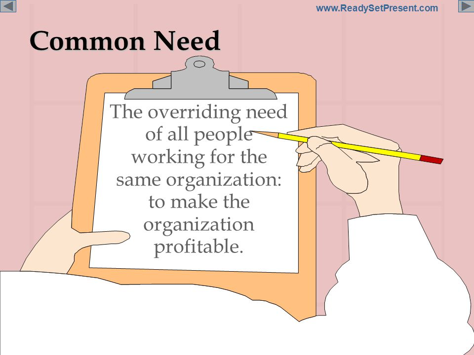 Page 7 www.ReadySetPresent.com Common Need The overriding need of all people working for the same organization: to make the organization profitable.
