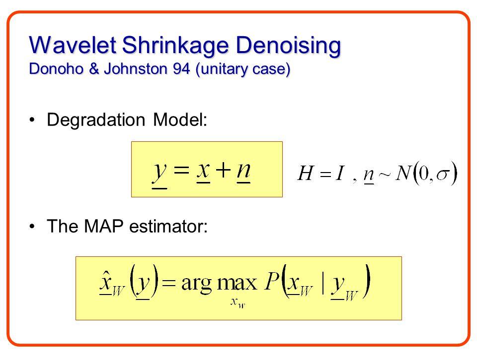 Wavelet Shrinkage Denoising Donoho & Johnston 94 (unitary case) Degradation Model: The MAP estimator: