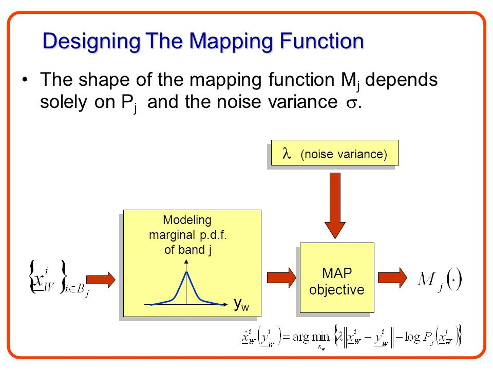 The shape of the mapping function M j depends solely on P j and the noise variance . Designing The Mapping Function ywyw Modeling marginal p.d.f. of