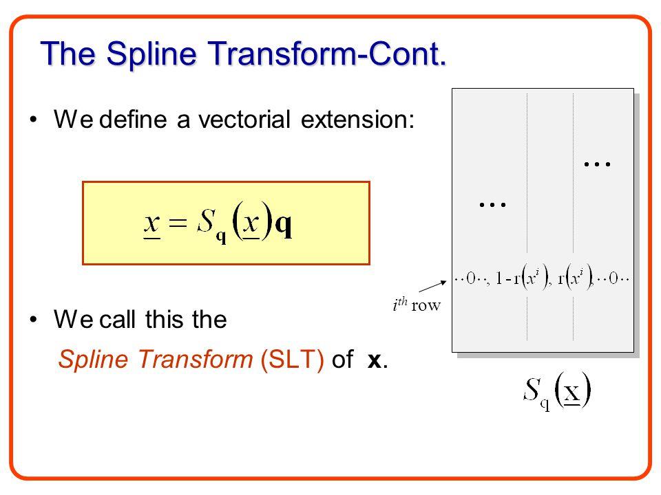 The Spline Transform-Cont.