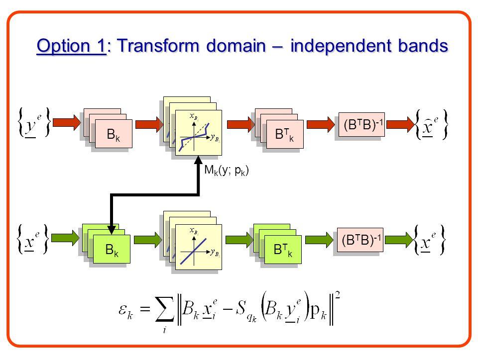 B1B1 B1B1 B1B1 B1B1 BkBk BkBk Option 1: Transform domain – independent bands M k (y; p k ) (B T B) -1 B1B1 B1B1 B1B1 B1B1 BTkBTk BTkBTk B1B1 B1B1 B1B1 B1B1 BkBk BkBk B1B1 B1B1 B1B1 B1B1 BTkBTk BTkBTk