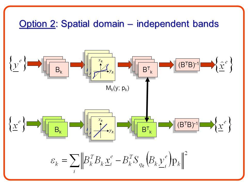 B1B1 B1B1 B1B1 B1B1 BkBk BkBk B1B1 B1B1 B1B1 B1B1 BTkBTk BTkBTk B1B1 B1B1 B1B1 B1B1 BkBk BkBk B1B1 B1B1 B1B1 B1B1 BTkBTk BTkBTk Option 2: Spatial domain – independent bands M k (y; p k )