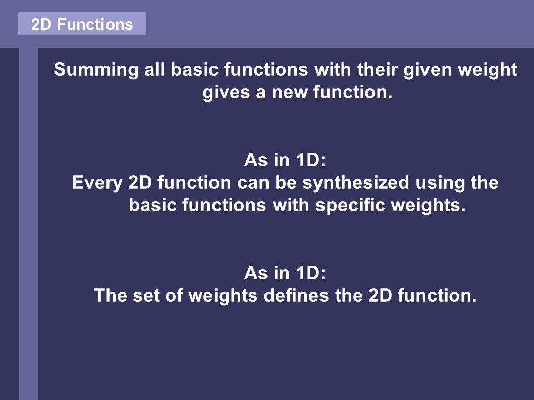 2D Functions Summing all basic functions with their given weight gives a new function.