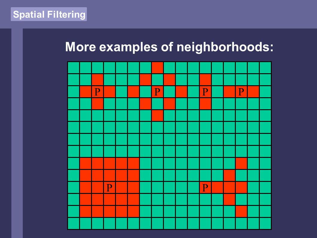 Spatial Filtering More examples of neighborhoods: PPPP PP