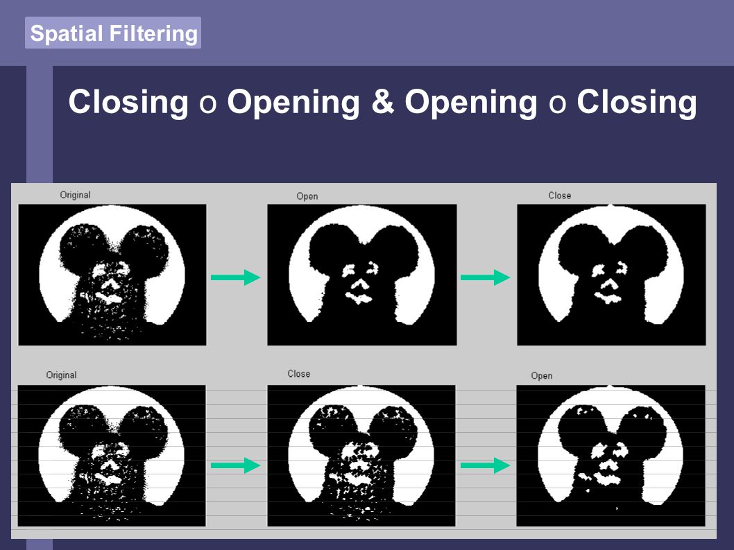 Spatial Filtering Closing o Opening & Opening o Closing