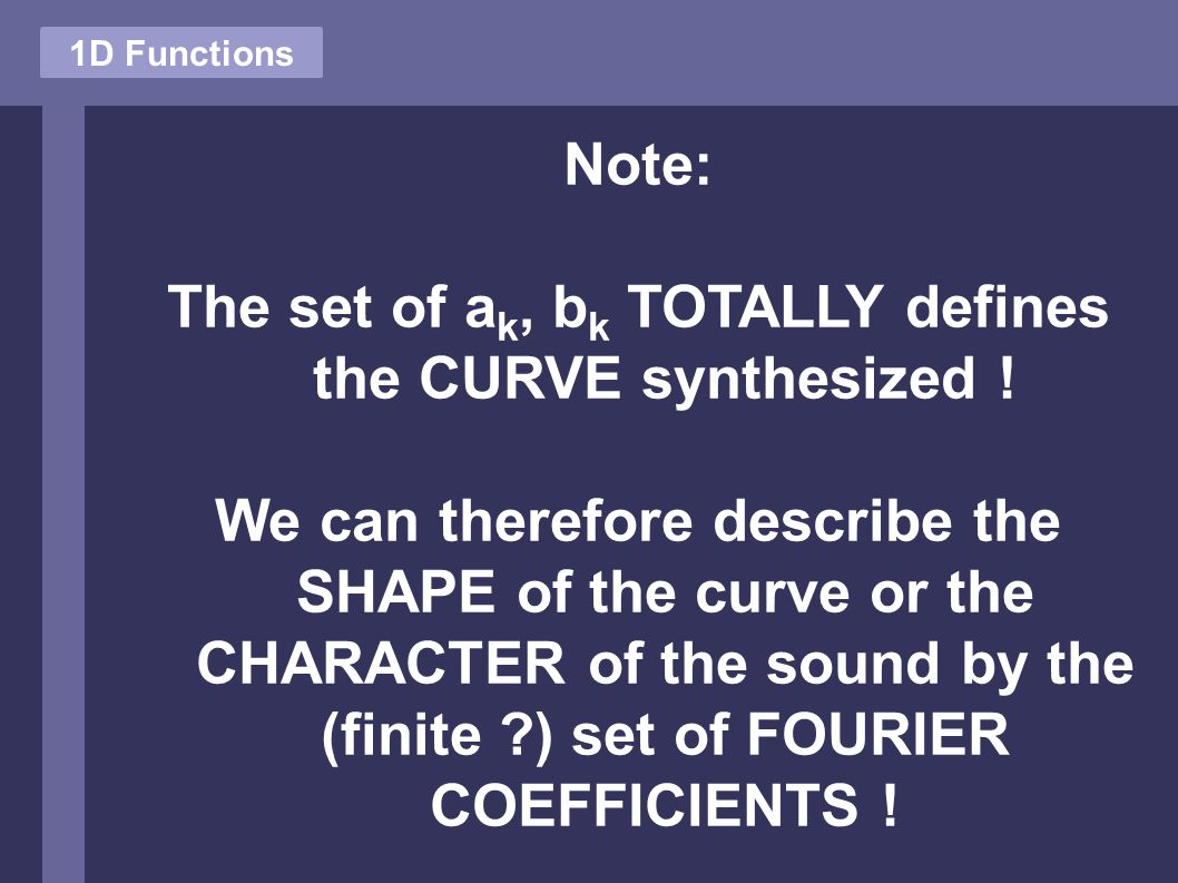Note: The set of a k, b k TOTALLY defines the CURVE synthesized .