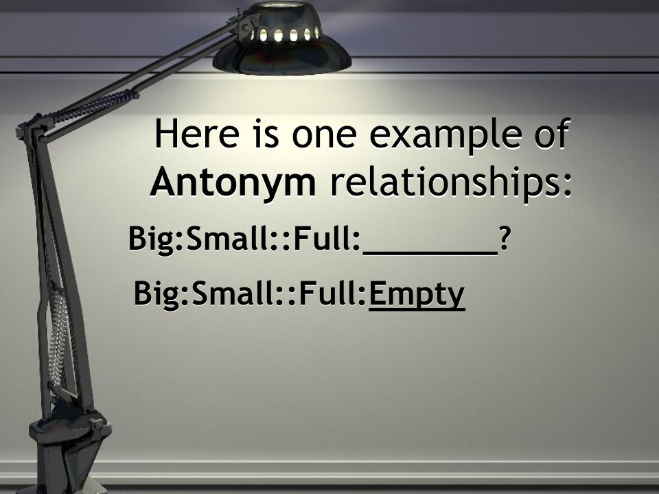 Here is one example of Antonym relationships: Big:Small::Full:_______ Big:Small::Full:Empty
