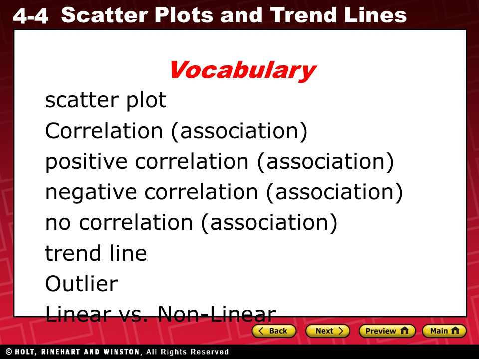 4-4 Scatter Plots and Trend Lines A scatter plot is a graph with points plotted to show a possible relationship between two sets of data.