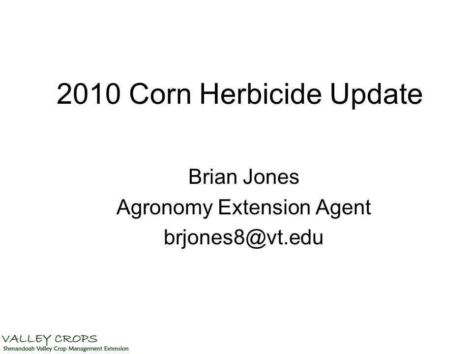 2010 Corn Herbicide Update Brian Jones Agronomy Extension Agent brjones8@vt.edu