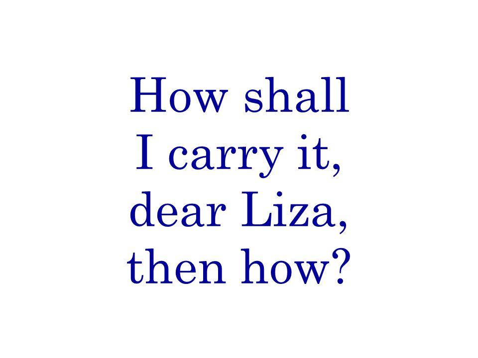 How shall I carry it, dear Liza, then how