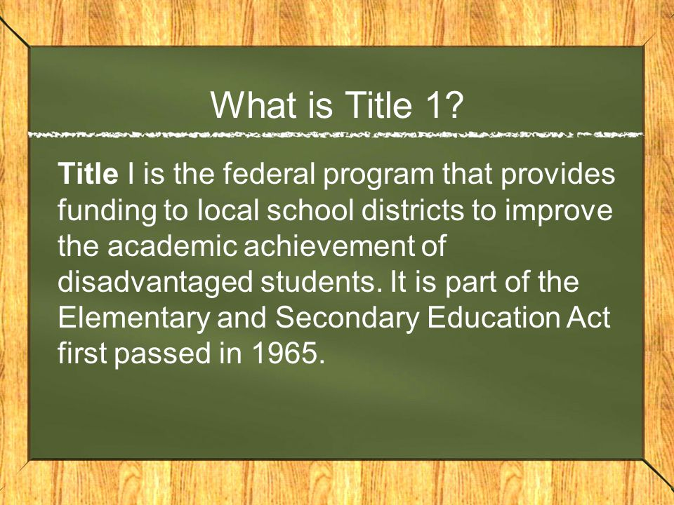What is Title 1.